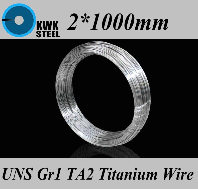 2x1000 Alambre de titanio de MM UNS Gr1 TA2 Alambre de titanio puro Ti industrial o Material DIY envío gratis