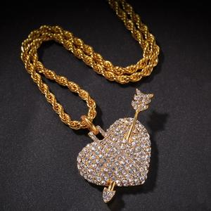 Hiphop full zircon arrow through the heart hip-hop pendant ice out men's charm necklace gift