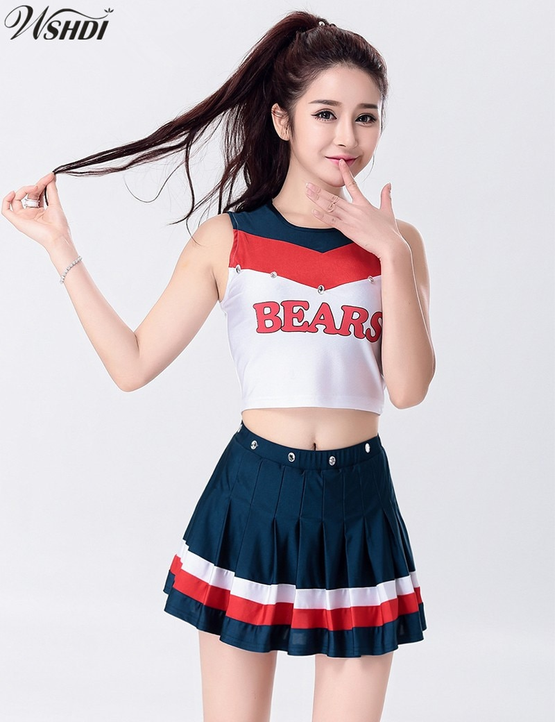 S-XXL de uniforme de animadora Musical Sexy de moda de secundaria animadoras disfraz de porristas Tops y falda