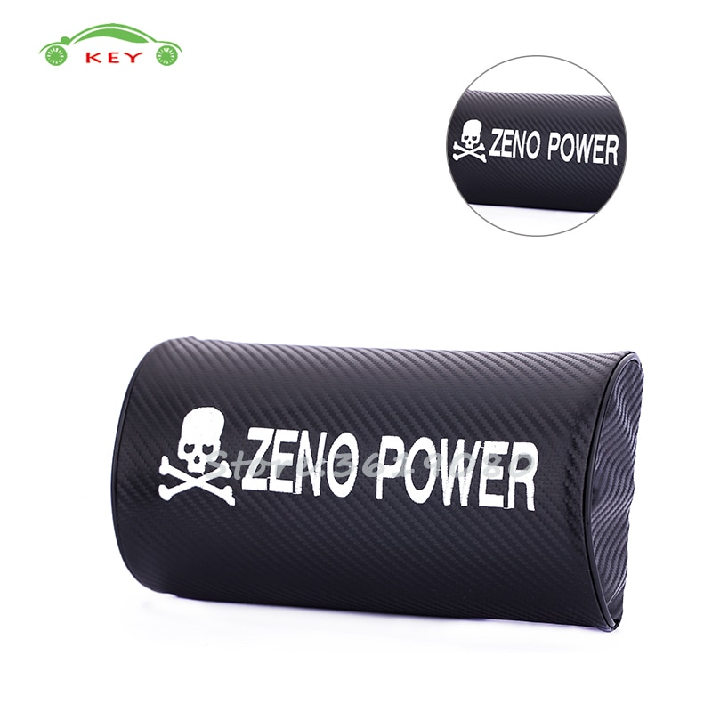 Para Zeno Power Logo coche asiento reposacabezas cubierta fibra de carbono cuello almohada suministros para Nissan Renault Infiniti KIA Volvo Mazda skoda