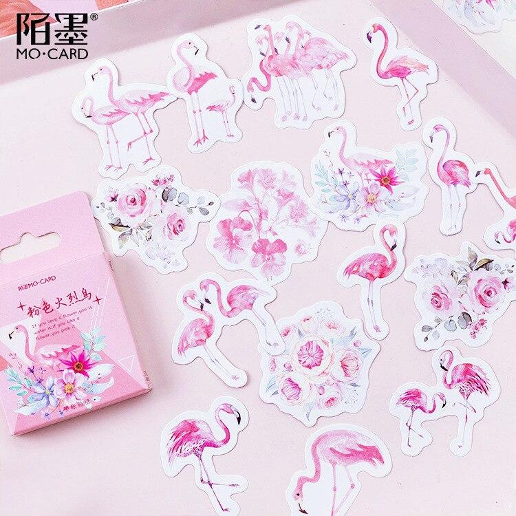 paquete-de-45-pegatinas-de-flamenco-rosa-papeleria-decorativa-album-diario-de-recortes-bricolaje
