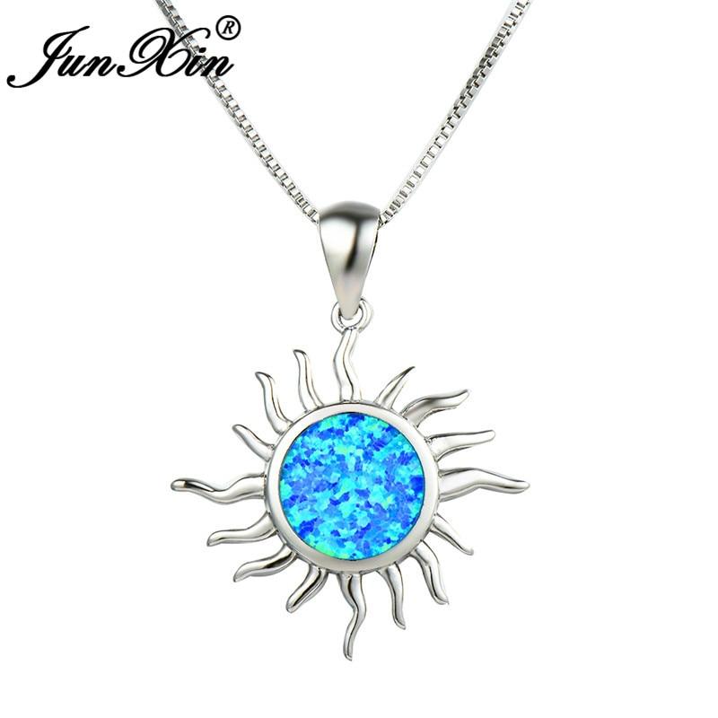 Colgante JUNXIN de Color plateado con forma de girasol, collar de ópalo de fuego blanco y azul para mujer, joyería de boda de piedra natal redonda