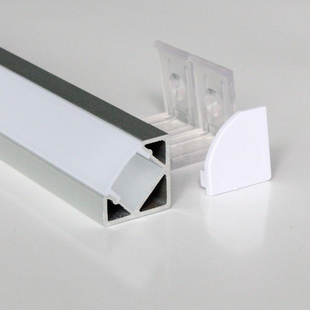 5m(10pcs) a lot, 0.5m per pcs, Anodized  aluminum profile for led strip light, triangle shape, clear cover  milky diffuse cover