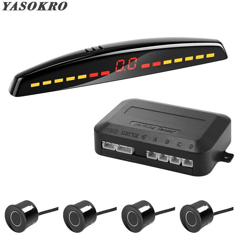 YASOKRO détecteur de stationnement voiture Led   Détecteur de voiture, affichage Parktronic, système de surveillance Radar de sauvegarde inversé avec 4 capteurs