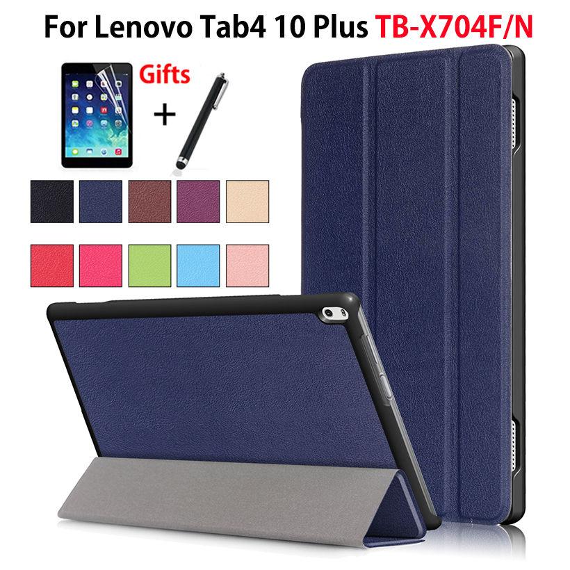 "Sprawa dla Lenovo TAB4 Tab 4 10 Plus TB-X704L przypadki 10.1 ""TB-X704F TB-X704N Smart Cover Funda Tablet PU skóra Shell + Film + długopis"