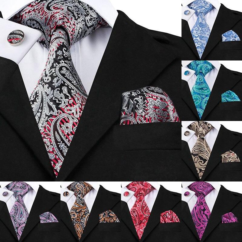 SN-359 gris claro Rojo Negro Paisley corbata Hanky gemelos conjuntos hombres 100% corbatas de seda para hombres Formal fiesta de boda novio