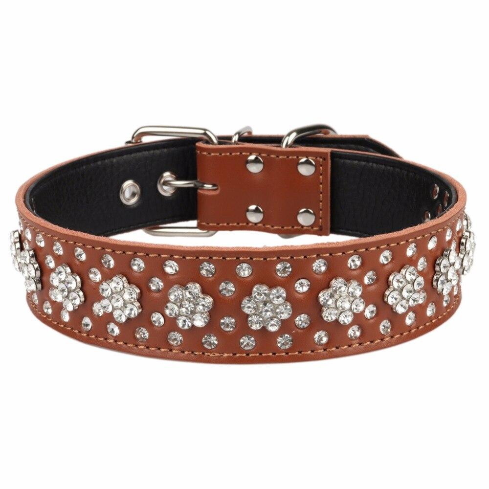 PipiFren, collares de piel auténtica para perros grandes, accesorios de diamantes de imitación, collar para perros grandes, collares para mascotas, suministros para gatos, collar chien cuir