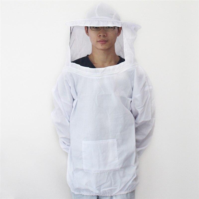Traje profesional de apicultura, chaqueta, abrigo con sombrero, algodón duradero, velo blanco, vestido, bata de abeja, herramientas de equipo de abrigo
