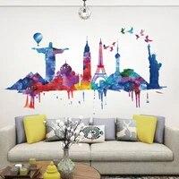 Autocollant mural creatif pour decoration de maison  affiche adhesive  nouvelle mode  celebre batiment moderne  DIY bricolage  2019