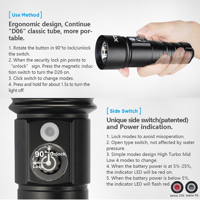 XTAR D26 1100 Diving Flashlight Lumens Lock Switch 100 Meters Waterproof Outdoor LED Flashlights For 18650 Battery enlarge