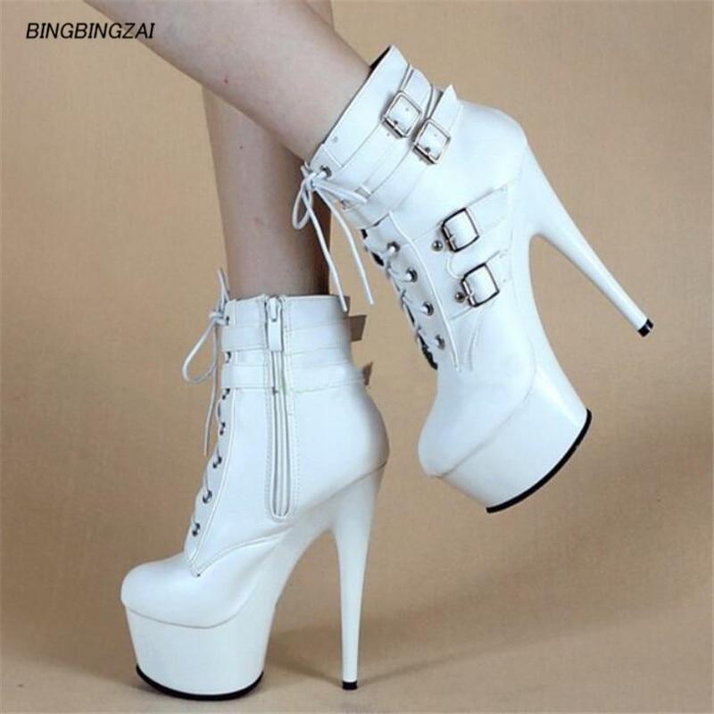 Bbzai sapatos mulher bottes hiver 15cm botas mujer bombas bottes bombas menina rendas-u plataforma à prova d35 água 35-45 46
