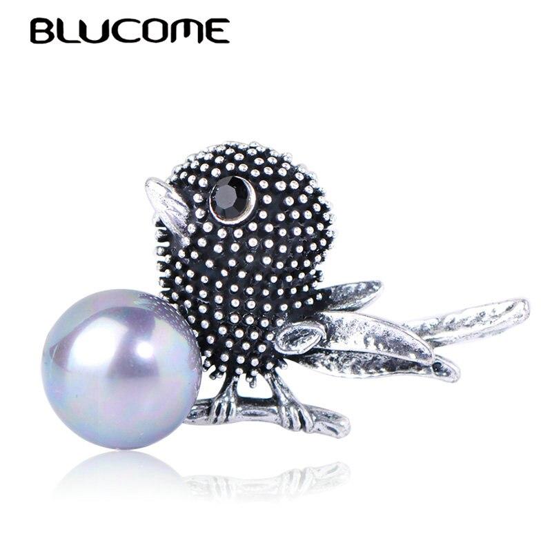 Женская Винтажная брошь Blucome, брошь в форме птицы, с искусственным жемчугом, в стиле ретро, шарф для вечеринок булавки для костюма, аксессуар...
