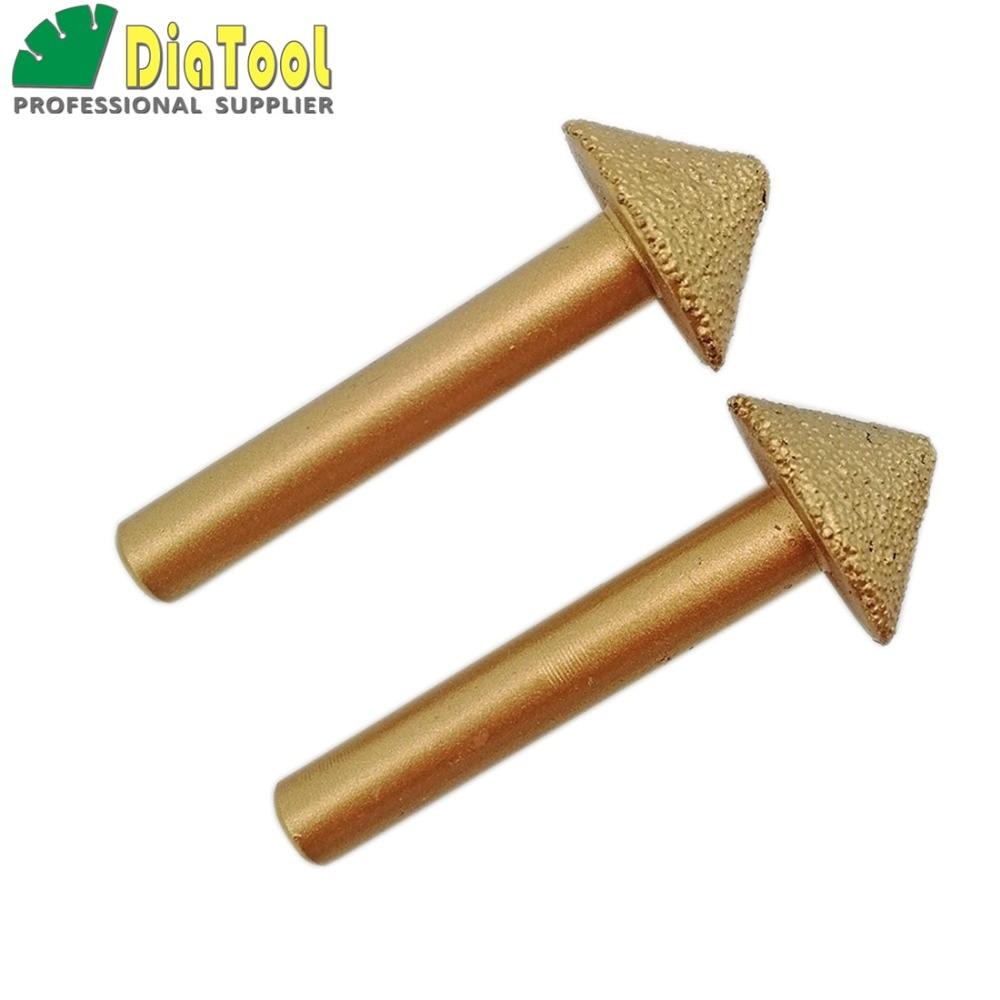 SHDIATOOL 2pcs 3D CNC Vacuum Brazed Diamond Engraving Bits Stone Cutter, Max Diameter 20mm, 90degree, 8mm Shank stone tool