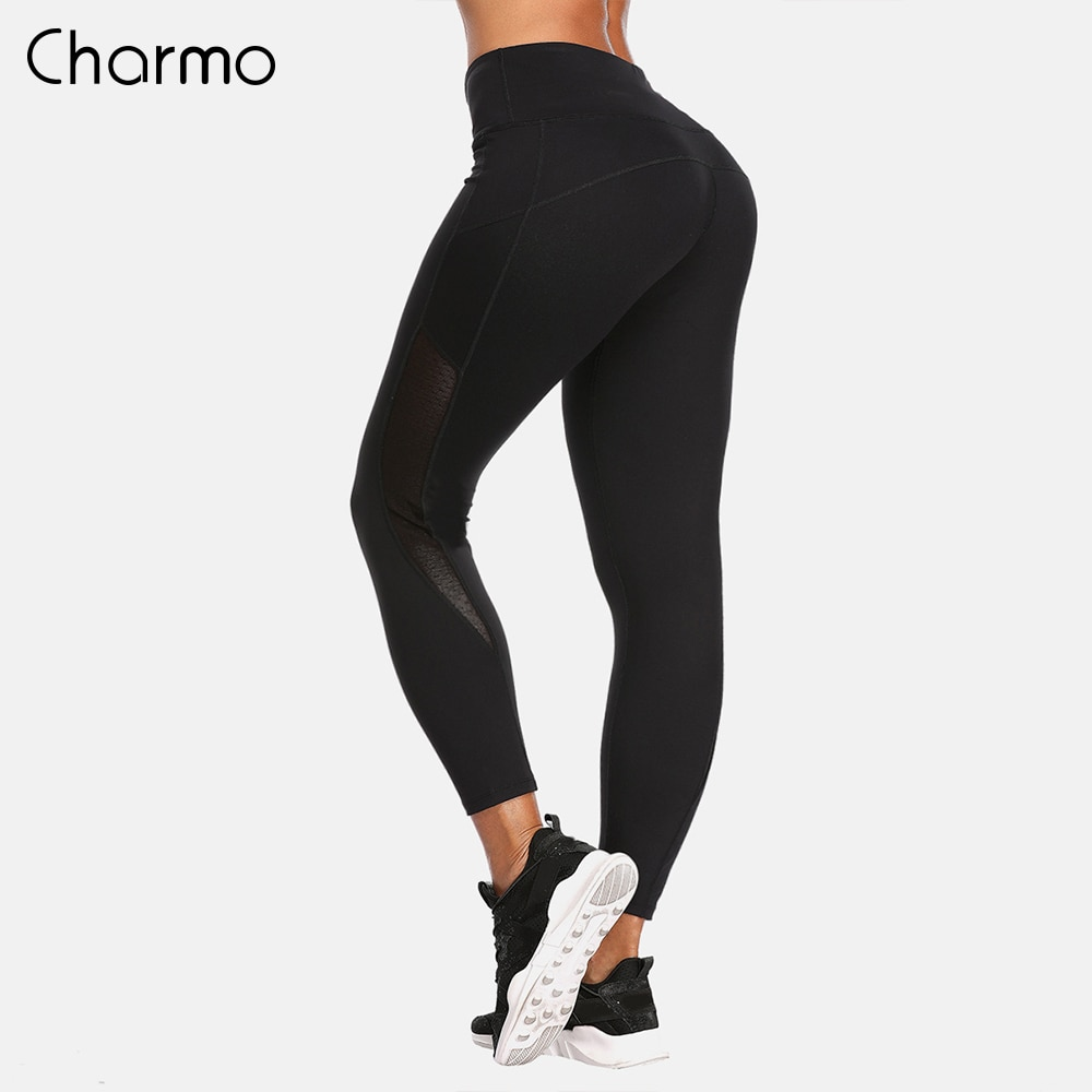Charmo Women Yoga Pants Slim High Waist Sports Lace Mesh Gym Fitness Elastic Trousers Running Training Legging