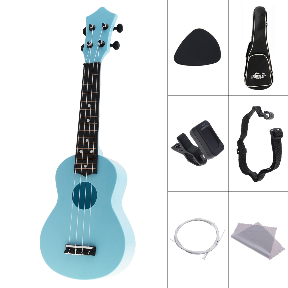 4 Strings 21 Inch ABS Ukulele Full Kits Acoustic Colorful Hawaii Guitar Guitarra Instrument for Children and Music Beginner enlarge