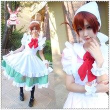 Poste gratuite Anime axe puissance Hetalia cosplay Feliciano Vargas Halloween japonais Harajuku rose vert couleur femme de chambre costumes dessin animé