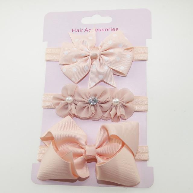 3Pcs Baby Elastic flower headband Headbands Hair Girls Bebe Bowknot Hairband Toddler Infants accessories set photography props 8