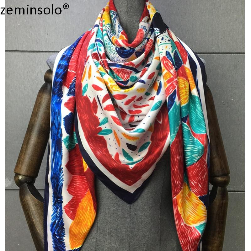 100% Silk Scarf Women Scarves Printed Plaid 2019 130*130cm Foulard NeckerChief Bandana Shawls Large Square