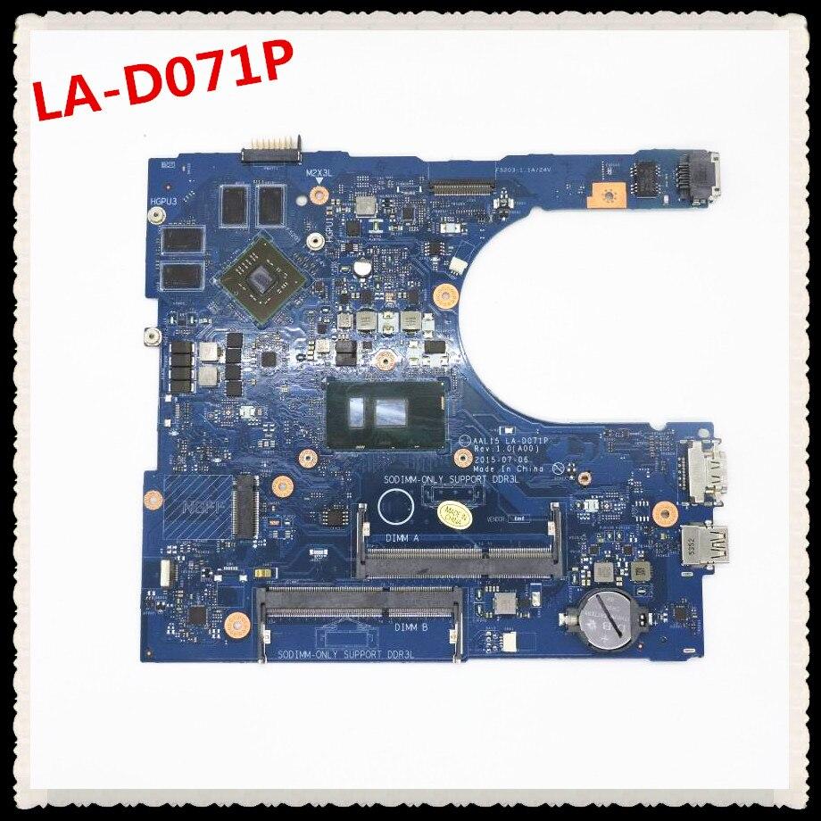 Placa base AAL15 LA-D071P para 5559 placa base CN-0F1J0W 0F1J0W HYCVR DDR3L I7-6500U SR2EZ {90 días de garantía}