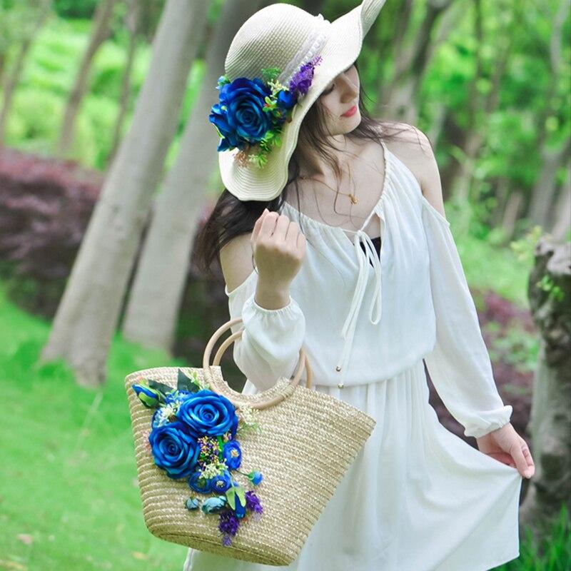 Vintage Style Artificial Flower Straw Bag Rattan Woven Tote Handbag Women Summer Beach Bags Larger Capacity Bolsa Feminina