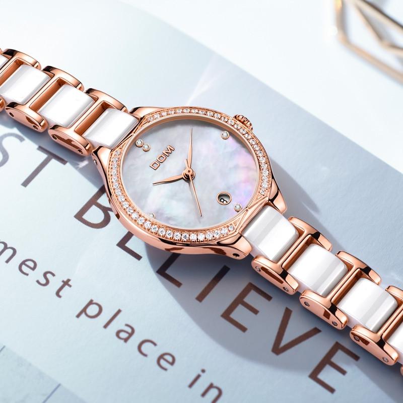 Fashion Women Diamonds Wrist Watches DOM G-1271G-7M Ceramics Watchband Top Luxury Brand Dress Ladies Geneva Quartz Clock enlarge