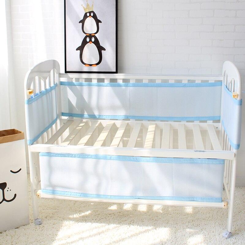 Cama de bebê Crib Bumpers Bumper Malha Respirável 3 Camada Forro de Berço Do Bebê Da Cama de Bebê Cama Berço Em Torno de Protetor de Azul e rosa Cor