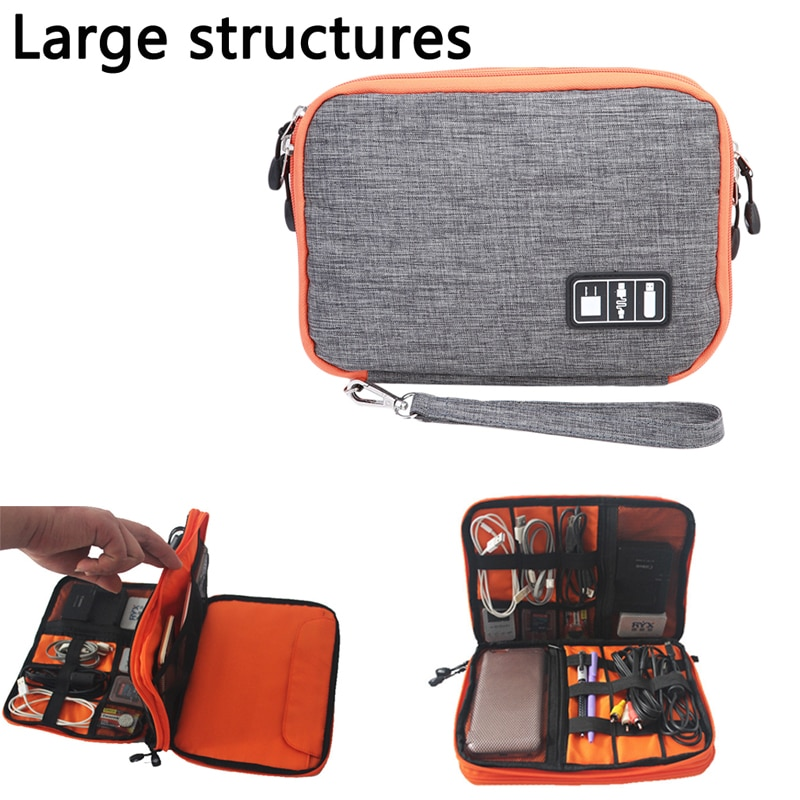 Impermeable doble capa Cable bolsa de almacenamiento electrónico Organizador Gadget bolsa de...