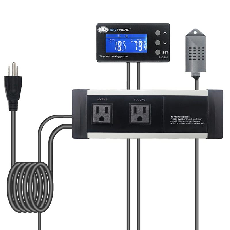 THC-220 EU/US/UK Digital Thermostat Hygrostat 220V 50/60Hz Temperature Regulator Humidity Controller Relay Thermostat Control
