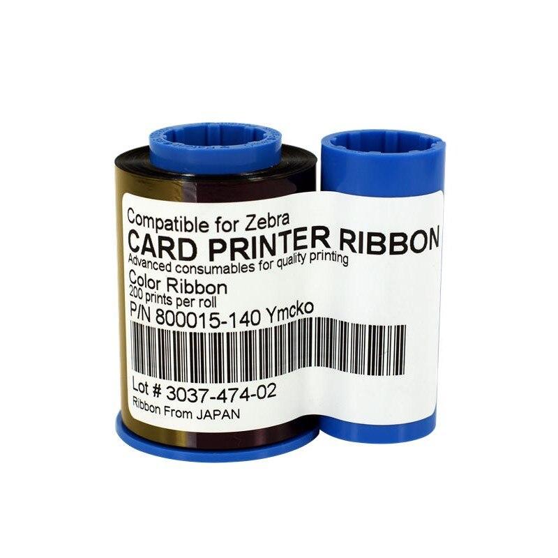10 قطعة متوافق زيبرا 800015-140 YMCKO اللون الشريط 200 مطبوعات لل زيبرا P300C P310C P400 بطاقة طابعة