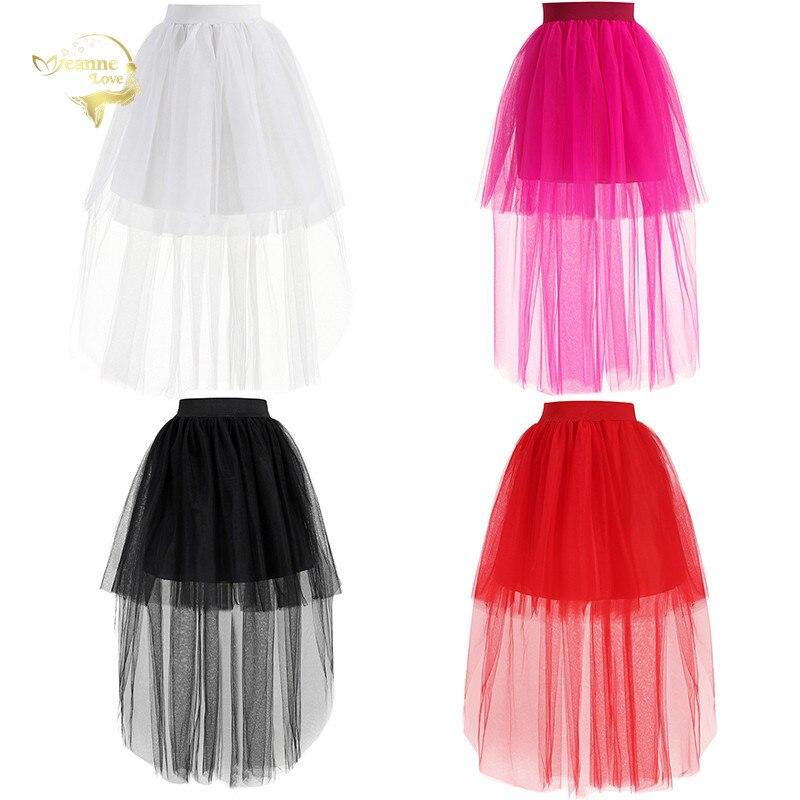 Mode haute basse rouge Tulle robe courte avant Long dos blanc femmes jupon doux Net sous-jupe Puffy Crinoline fille jupe