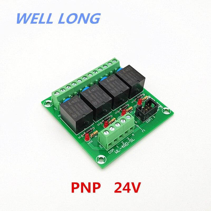 4 قناة PNP نوع 24V 15A الطاقة تتابع واجهة وحدة ، HF JQC-3FF-24V-1ZS التتابع.