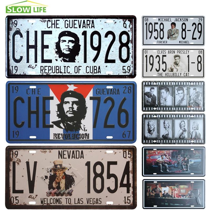 Che Guevara Car Metal License Plate Vintage Home Decor Tin Sign Bar Pub Cafe Garage Decorative Metal Sign Art Painting Plaque