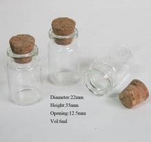 1000/lot 6 ml bouteille en verre transparent avec couvercle en liège, 1/4 oz petites fioles déchantillon, bouchon en liège récipient en verre, 22*35*12.5mm