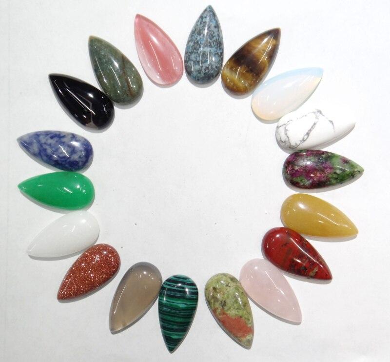 30 Uds. Naturales de Brasil sodalita mexicana Crazy stone agua forma cabujón cuentas 15*30mm sin agujero para la fabricación de joyas collar anillo
