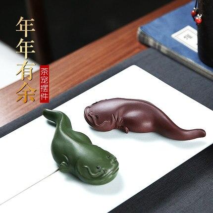 Yixing-صينية شاي رملية أرجوانية ، زينة نباتية ، قطة قطة ، طين أخضر ، بوتيك ، منزل ، زخرفة ، كونغ فو ، حفل ، إكسسوارات