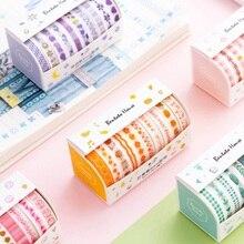 10 unids/pack verde rosa amarillo diario conjunto de cintas Washi cinta adhesiva Scrapbooking DIY cinta adhesiva