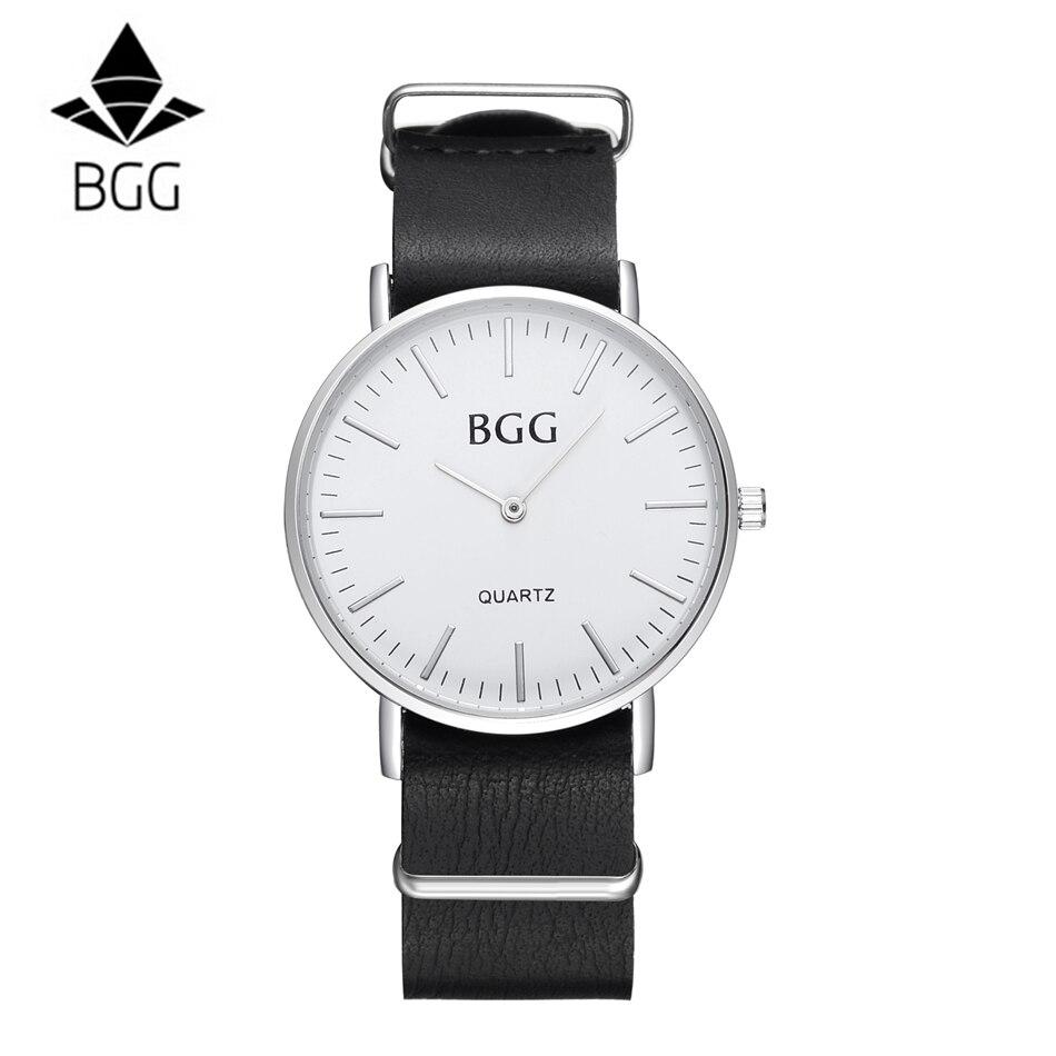 ¡Oferta! reloj de pulsera de Caballero de moda BGG marca bussiness reloj Relogio Masculino de cuarzo para tiempo libre regalo para hombres reloj de pulsera Geneva reloj Masculino