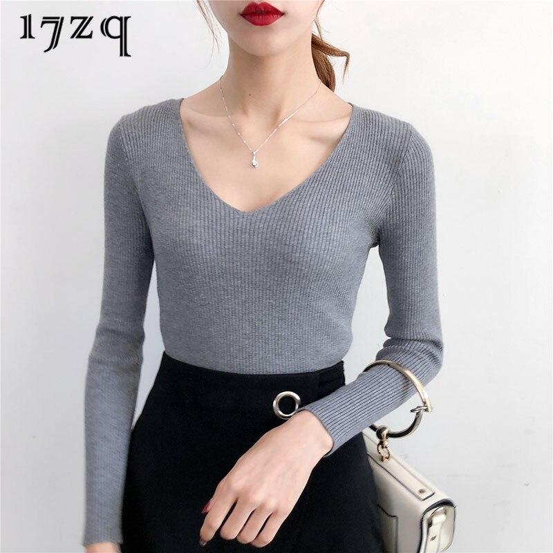 17zq elegante Oficina señoras Slim Fit suéter versión coreana pulóver Mujer delgada...