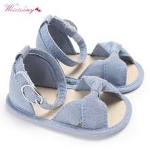 WEIXINBUY Summer Baby Girls Sandals Toddler Newborn Baby Girls Buckle Strap Bow Soft Crib Shoes Size 0-18 Months