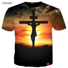 YFFUSHI New Arruval Hot Sale Male 3D T-Shirts Unique Cross Locked  Men 3D Print Sunset Print Tops Tees Plus Size 5XL
