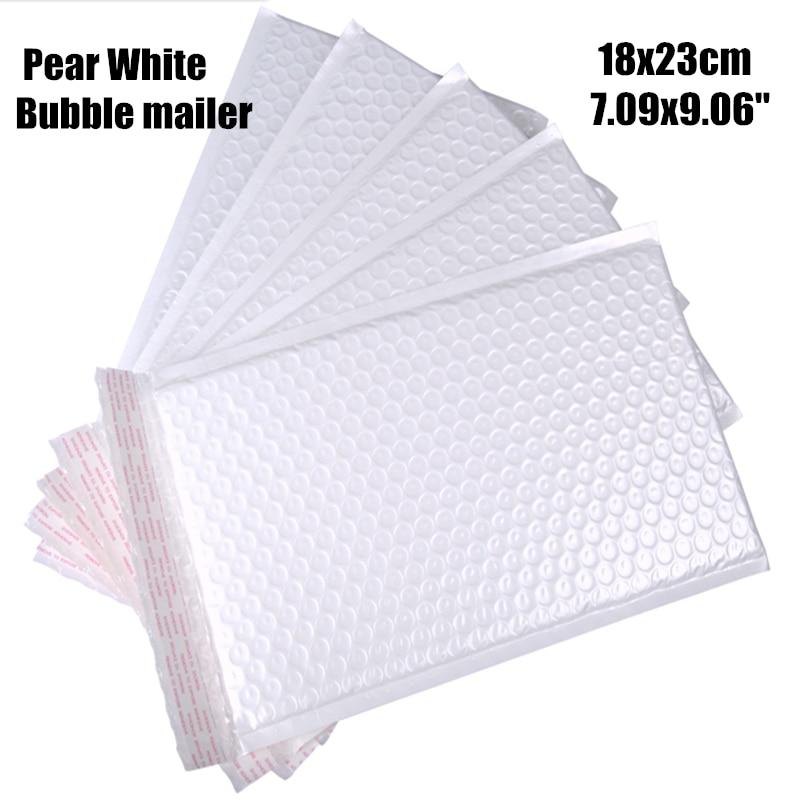 18*23cm (9,06 7,09 *) 20 unids/lote de correo de burbujas de polietileno blanco utilizable impermeable sobre acolchado bolsa de correo auto sellado para regalo