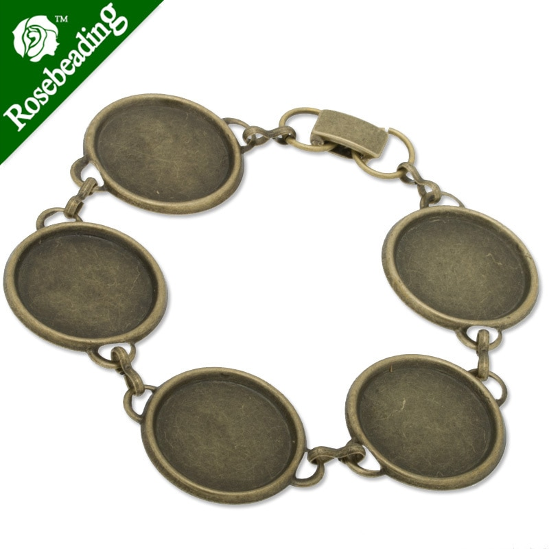 2014 nuevo diseño pulsera chapada en bronce antiguo con almohadilla de 5 piezas de 18mm; cabochon de vidrio redondo de 18mm; se vende 5 piezas por paquete