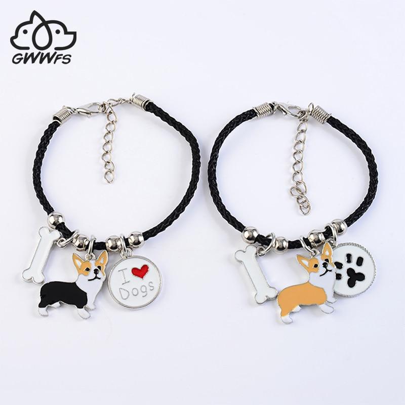 Corgi galés pembroke pulseras de encanto para mujeres niñas hombres cuerda cadena aleación color plateado colgante para perro mascota abrigo para mujer pulsera masculina