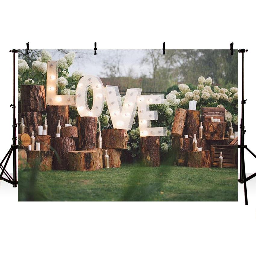 MEHOFOTO Green Lawn Photography Backdrops Wooden Decoration Vinyl Photo Props 7x5ft Studio Wedding Background