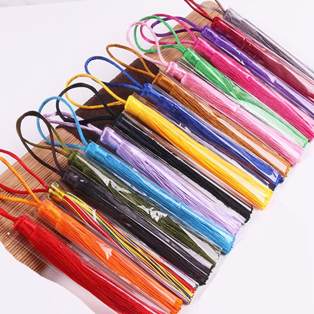 5pcs/lot 12cm Silk Tassel Brush fringe Bookmark tassel Satin phone Tassels for crafts jewelry diy sewing curtains garment decor