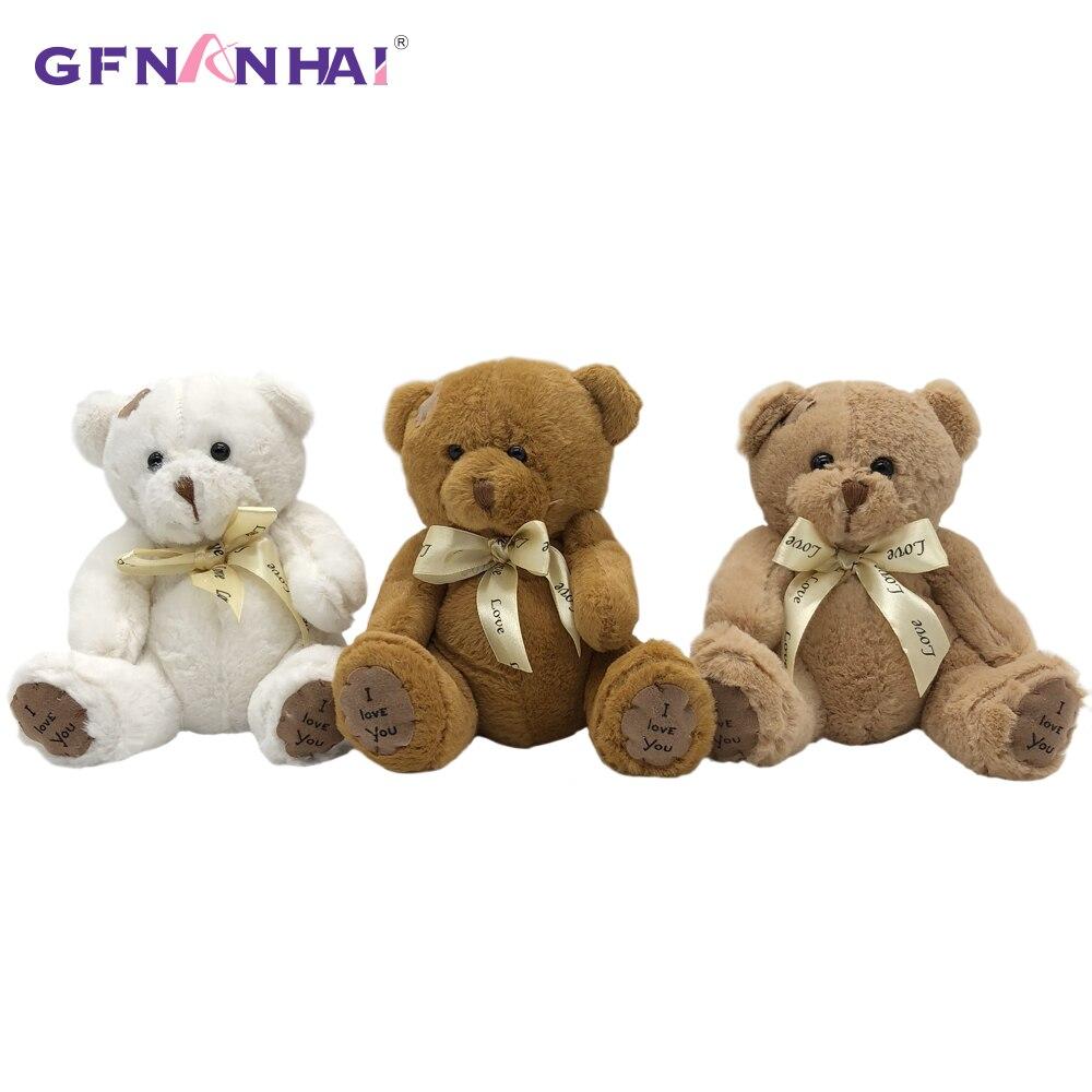 1pc 18CM Gefüllte Teddybär Puppen Patch Bears Drei Farben Plüsch Spielzeug Beste Geschenk für Kinder Kinder Spielzeug hochzeit Geschenke
