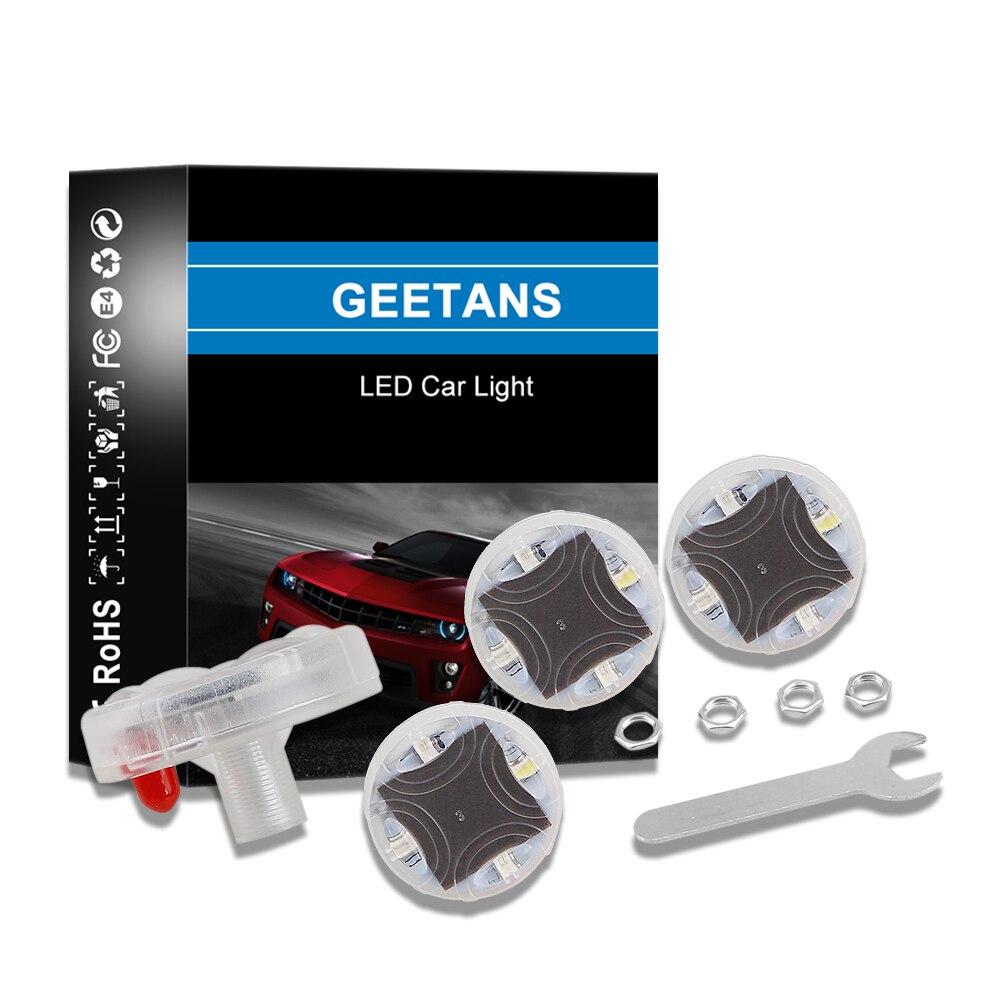 Geetans 4 pçs luz da roda do carro led flash válvulas de pneus lâmpada flash modelos coloridos à prova dwaterproof água bico de gás do carro tampa da lâmpada pneu luz ae