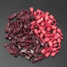100PCS Rode T-Tap/Mannelijke Geïsoleerde 0.5-1.5mm2 Quick Splice Wire Terminal Connectoren Combo 22- 18 AWG