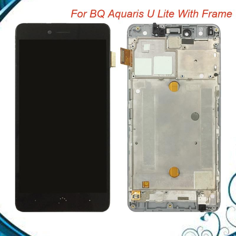 Pantalla Lcd + pantalla táctil para BQ Aquaris U digitalizador Lite montaje Lcd con marco piezas de repuesto envío gratis en Stock