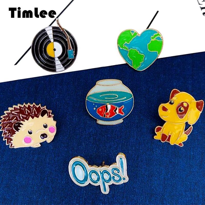 Timlee X280 Free shipping Cartoon Lovely Phonograph Goldfish Jar Hedgehog Heart dog Brooch Pins,Fashion Jewelry Wholesale